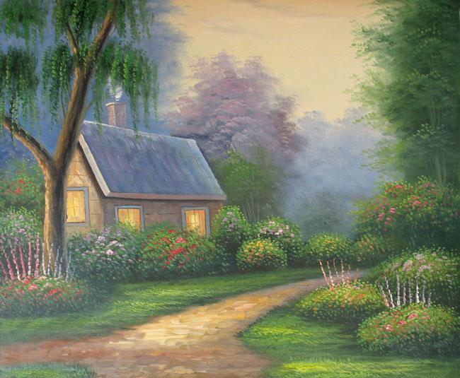 Lukisan pemandangan alam dengan pensil